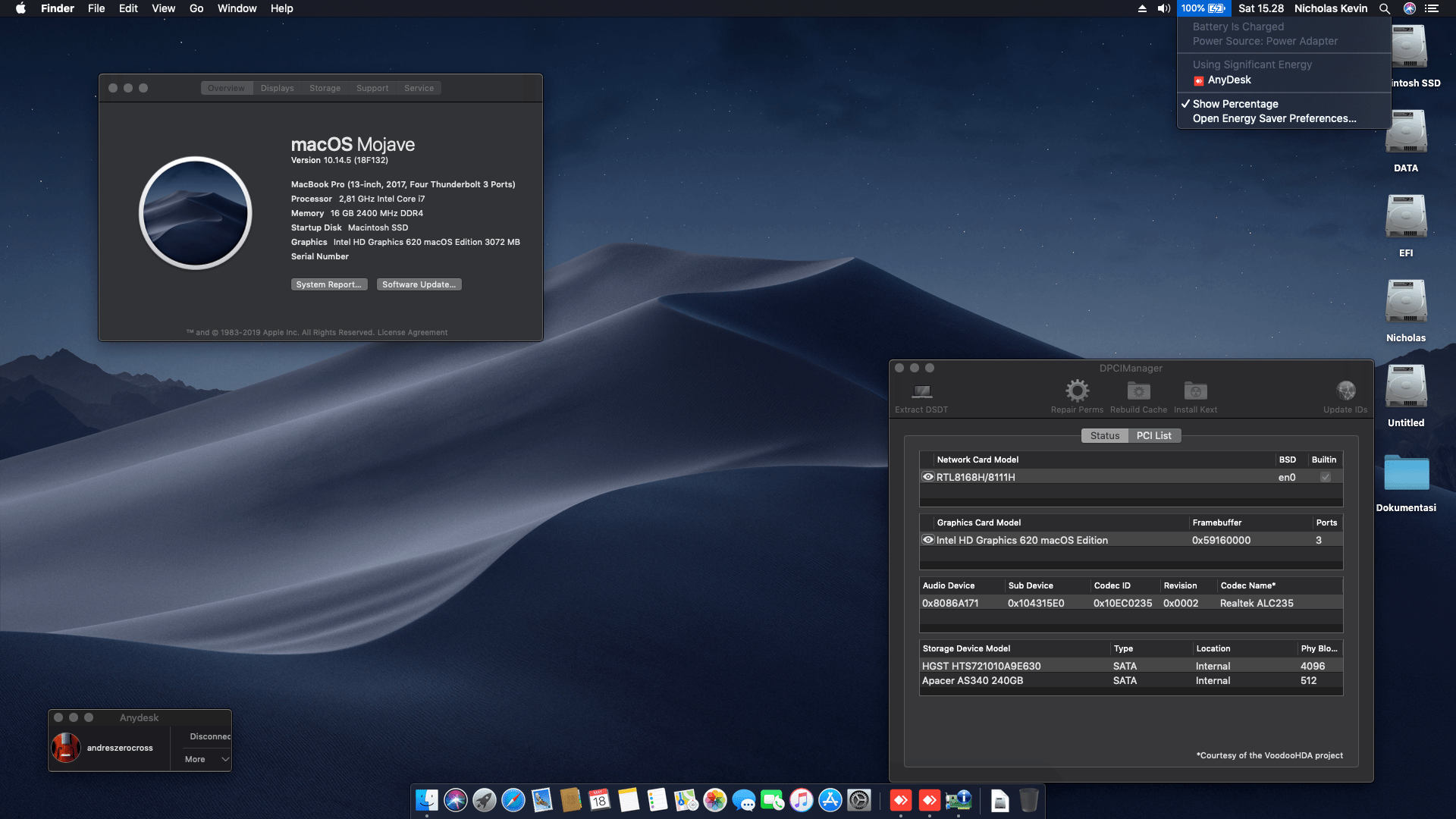 Success Hackintosh macOS Mojave 10.14.5 Build 18F132 at Asus ROG GL553VD-FY380